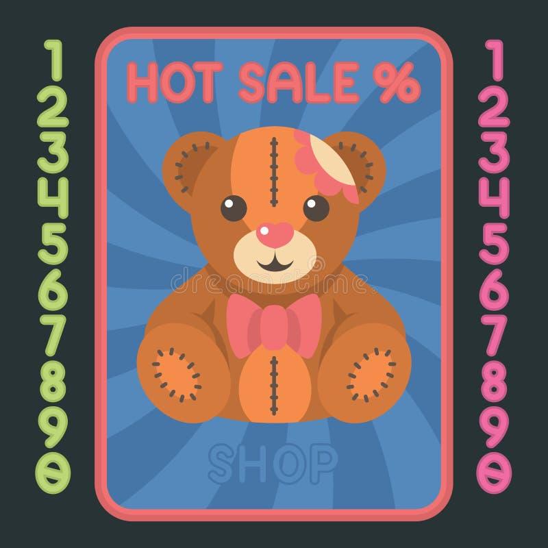 Symbol för design för lägenhet för nallebjörn Varm försäljningsetikett för vektor royaltyfri illustrationer