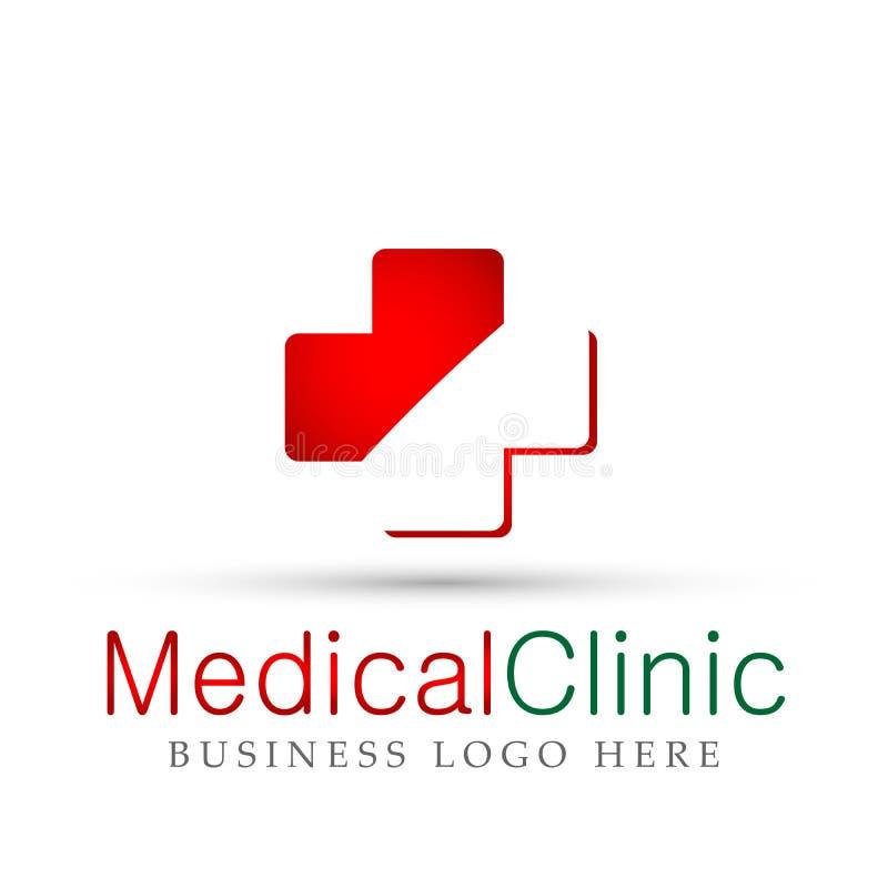 Symbol för design för logo för hälsovård för medicinsk för hälsovårdkorsklinik familj för folk medicinsk på vit bakgrund royaltyfri illustrationer