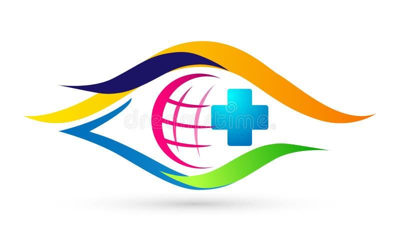 Symbol för design för logo för omsorg för liv för argt folk för klinik för medicinsk hälsovård för omsorg för jordklotvärldsöga s vektor illustrationer
