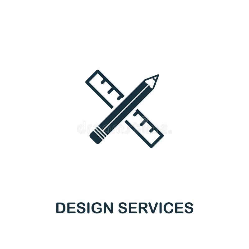 Symbol för designservice Högvärdig stildesign från designui och uxsymbolssamling För designservice för PIXEL perfekt symbol för r royaltyfri illustrationer