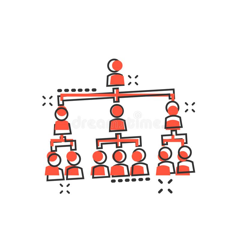 Symbol för diagram för företags organisation för vektortecknad filmfolk i komiker stock illustrationer