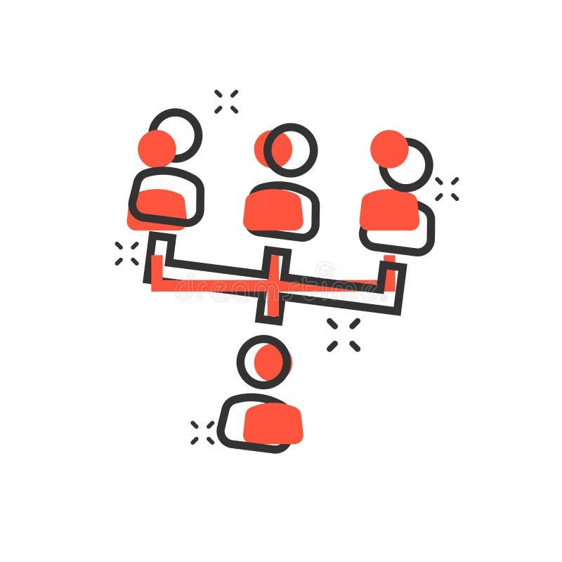 Symbol för diagram för företags organisation för vektortecknad filmfolk i komiker royaltyfri illustrationer