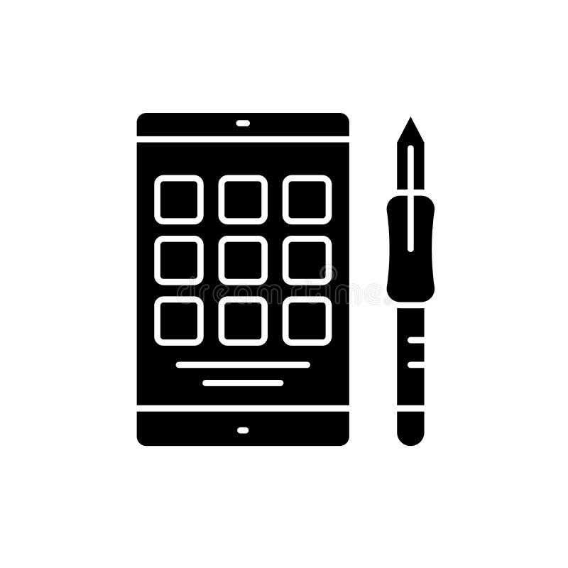 Symbol för Digital minnestavlasvart, vektortecken på isolerad bakgrund Symbol för Digital minnestavlabegrepp, illustration vektor illustrationer