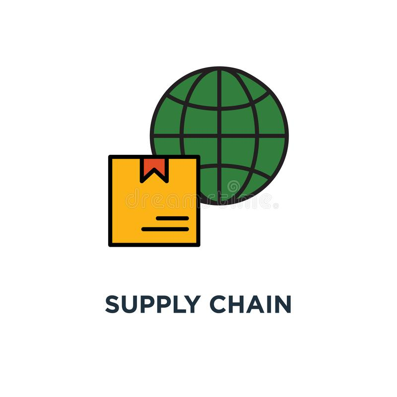 symbol för distributionskedjafördelningslager den snabba leveranslastbilen, mottar asken, väljer upp punkt, för slaglängdbegrepp  royaltyfri illustrationer
