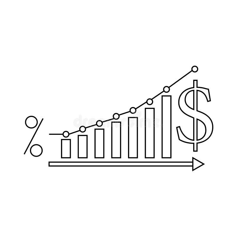 Symbol för dollarförhöjninggraf, översiktsstil royaltyfri illustrationer