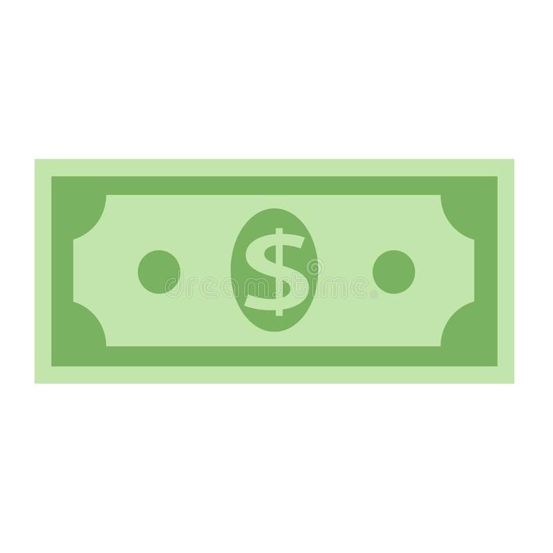 Symbol för dollarvalutasedel, materielvektorillustration vektor illustrationer