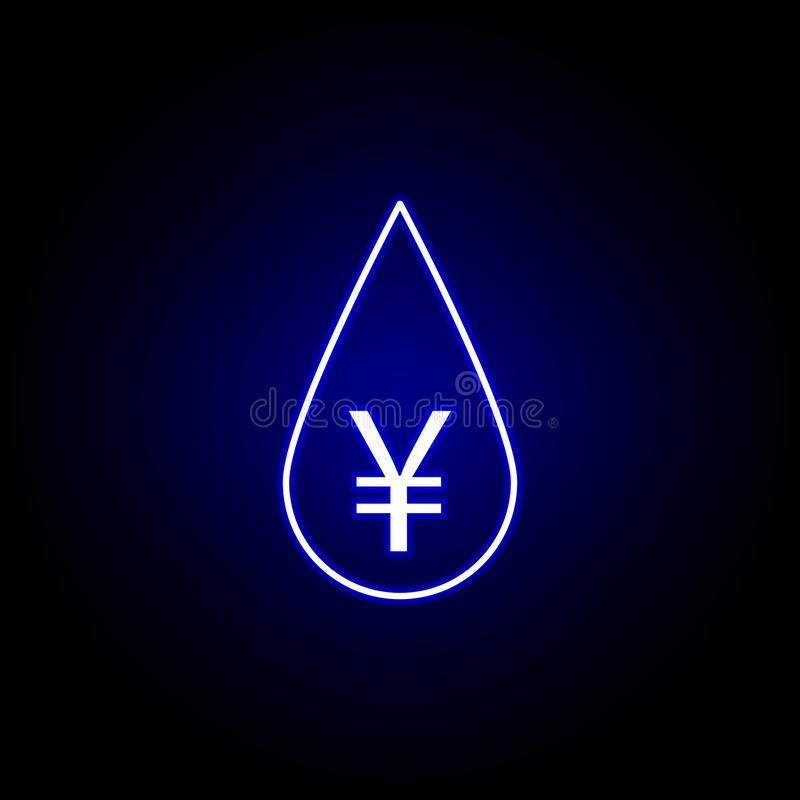 symbol för droppoljayuan i neonstil Best?ndsdel av finansillustrationen Tecknet och symbolsymbolen kan anv?ndas f?r reng?ringsduk vektor illustrationer