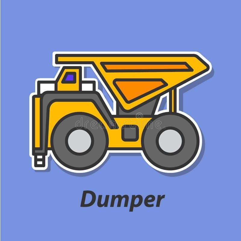Symbol för Dumperfärglägenhet royaltyfri illustrationer