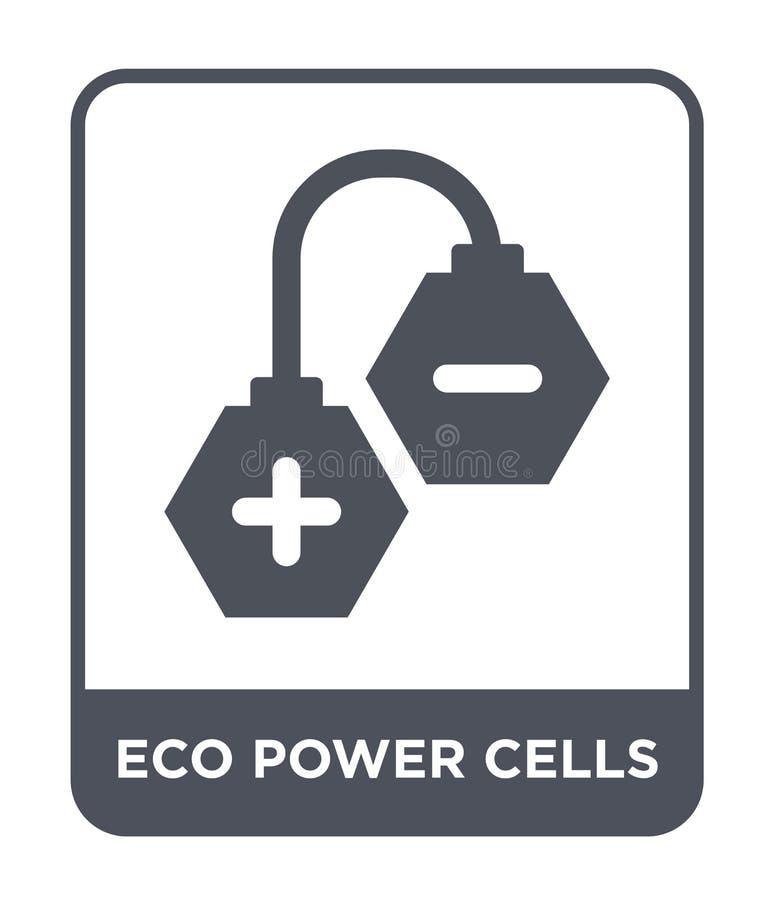 symbol för ecomaktceller i moderiktig designstil symbol för ecomaktceller som isoleras på vit bakgrund enkel symbol för vektor fö royaltyfri illustrationer