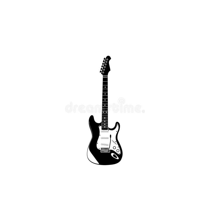 Symbol för elektrisk gitarr med spaken stock illustrationer