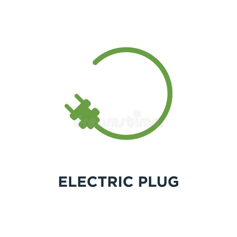 Symbol för elektrisk propp des för symbol för begrepp för tecken för biluppladdningsstation vektor illustrationer