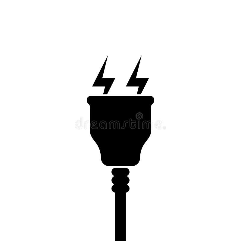 Symbol för elektrisk propp med blixtsymbolet, tecken vektor illustrationer
