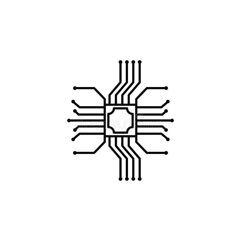 Symbol för elektronisk apparat för mikrochips Beståndsdel av symbolen för konstgjord intelligens för mobila begrepps- och rengöri vektor illustrationer