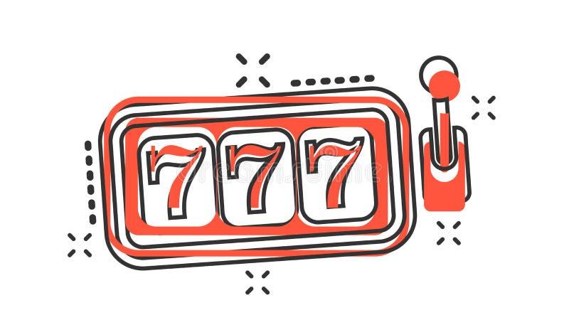 Symbol för enarmad bandit för vektortecknad filmkasino i komisk stil stålar 777 royaltyfri illustrationer