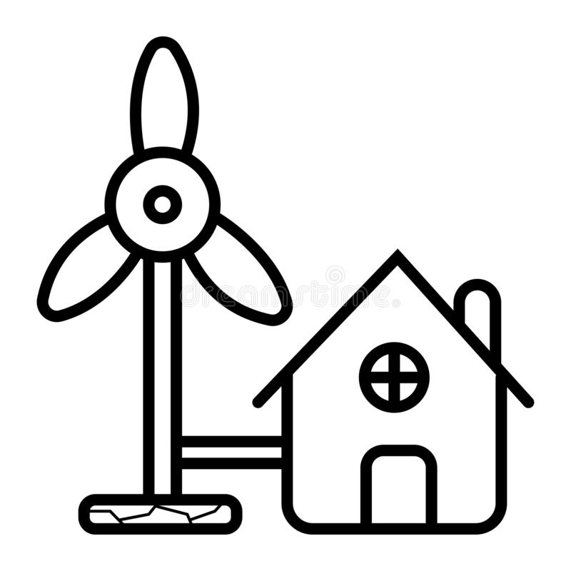 Symbol för Eolic energivektor stock illustrationer