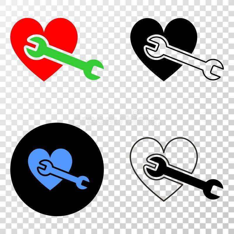 Symbol för EPS för vektor för hjärtareparationsskiftnyckel med konturversion stock illustrationer