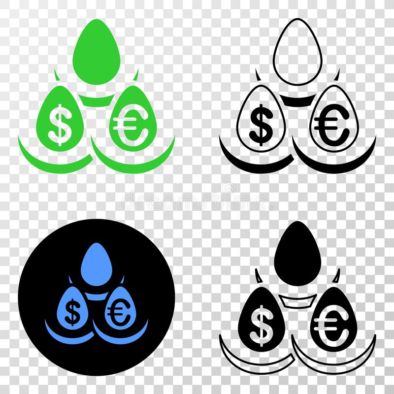 Symbol för EPS för vektor för valutainsättningägg med konturversion stock illustrationer