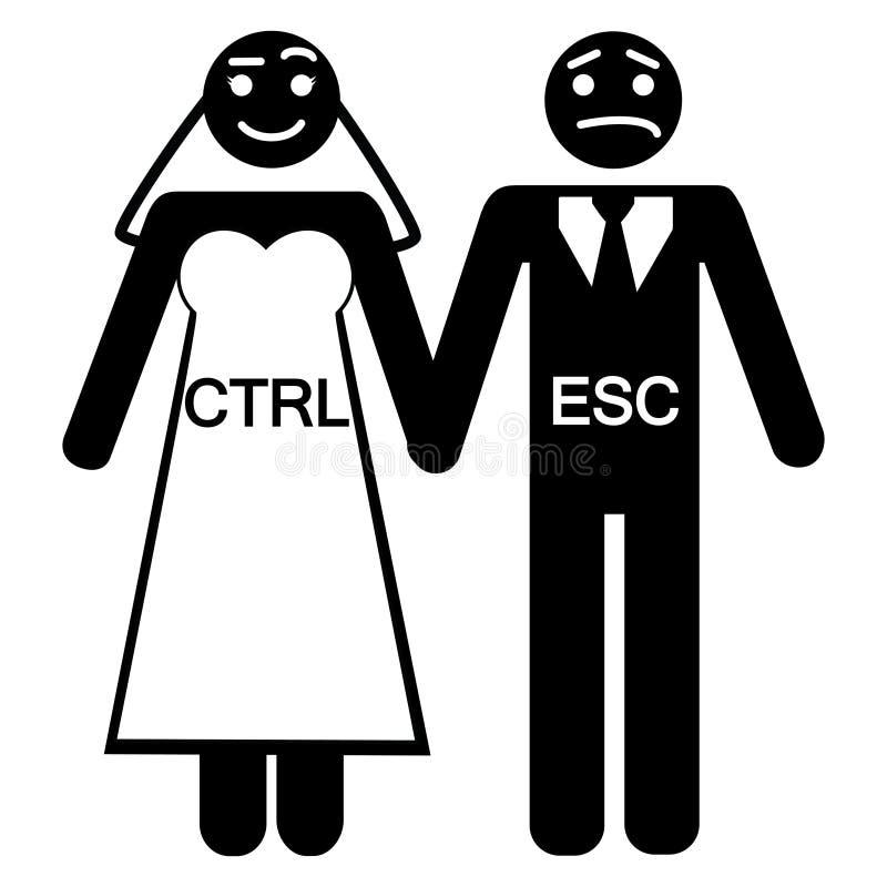 Symbol för ESC för brudbrudgumCTRL royaltyfri illustrationer