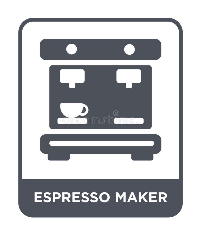 symbol för espressotillverkare i moderiktig designstil symbol för espressotillverkare som isoleras på vit bakgrund enkel symbol f stock illustrationer