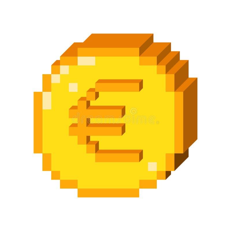 Symbol för euro för vektorPIXEL 3D royaltyfri illustrationer