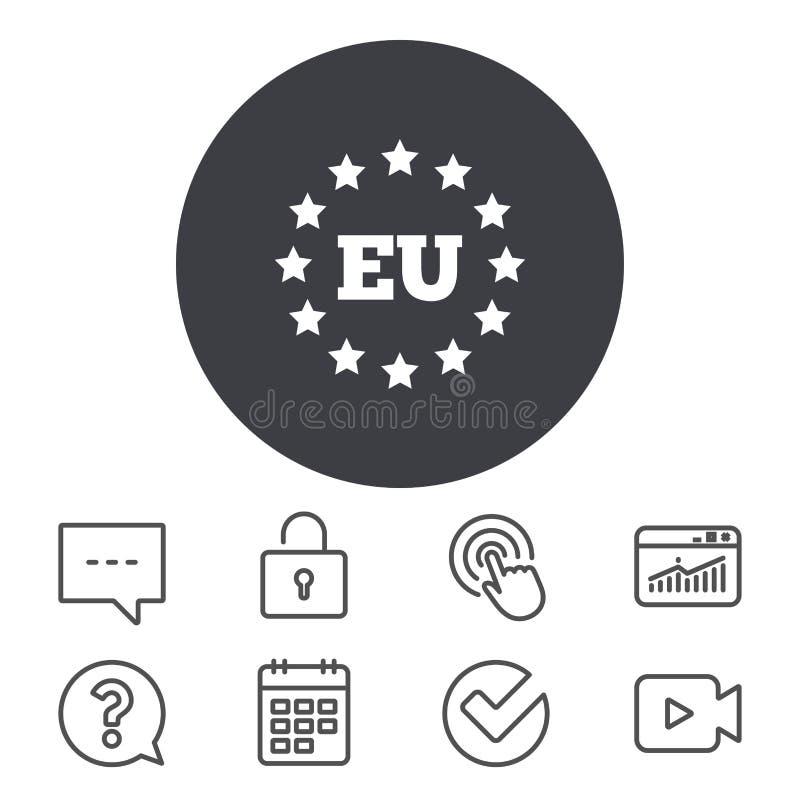 Symbol för europeisk union EU-stjärnasymbol vektor illustrationer