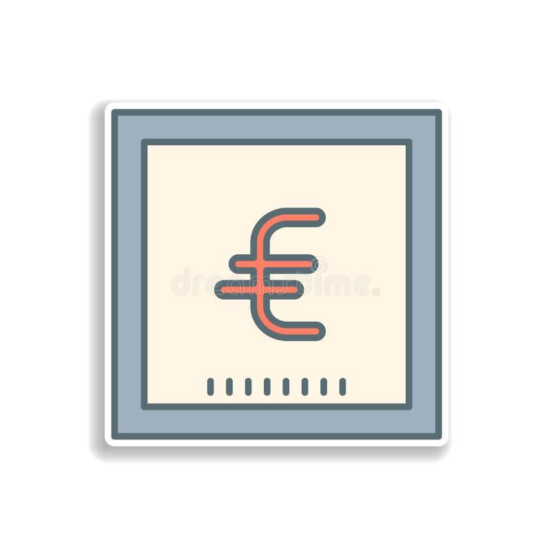 symbol för eurosedelklistermärke Beståndsdel av färgbankrörelsesymbolen Högvärdig kvalitets- klistermärkedesignsymbol Tecken och  royaltyfri illustrationer