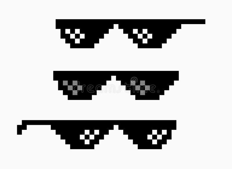 Symbol för exponeringsglas för PIXEL för banditlivmeme Liv för bandit för ofog för symbol för skämt för solglasögonhöftflygtur vektor illustrationer