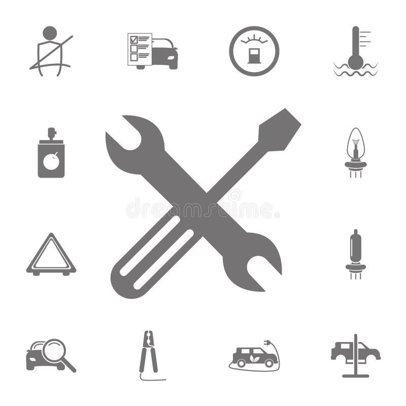 Symbol för extra- hjul och hjälpmedel Uppsättning av bilreparationssymboler Tecken av samlingen, enkla symboler för websites, ren royaltyfri illustrationer