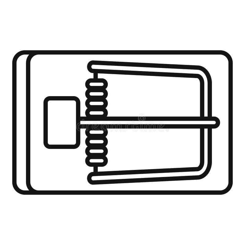 Symbol för fälla för trämus, översiktsstil royaltyfri illustrationer