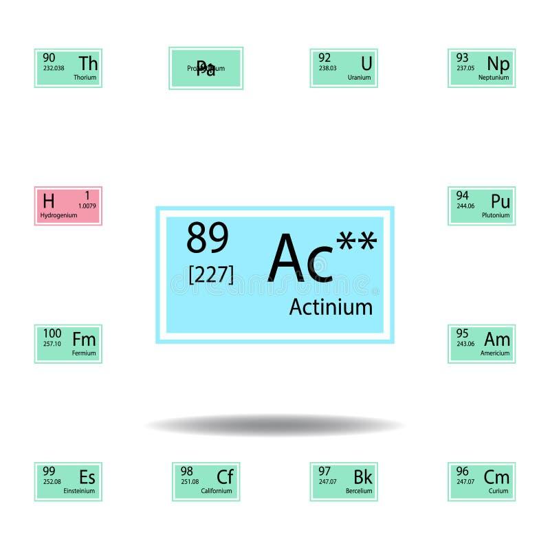 Symbol för färg för actinium för beståndsdel för periodisk tabell Ställ in av kemisk teckenfärgsymbol Tecken och symbolsamlingssy royaltyfri illustrationer