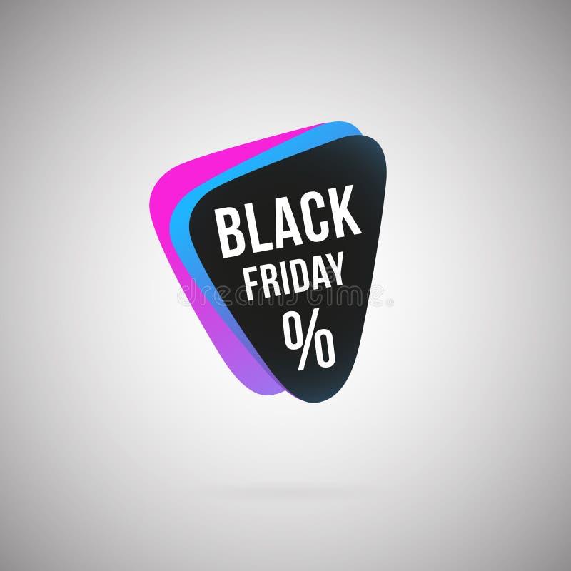 Symbol för färg för Black Friday procentabstrakt begrepp geometrisk royaltyfri illustrationer