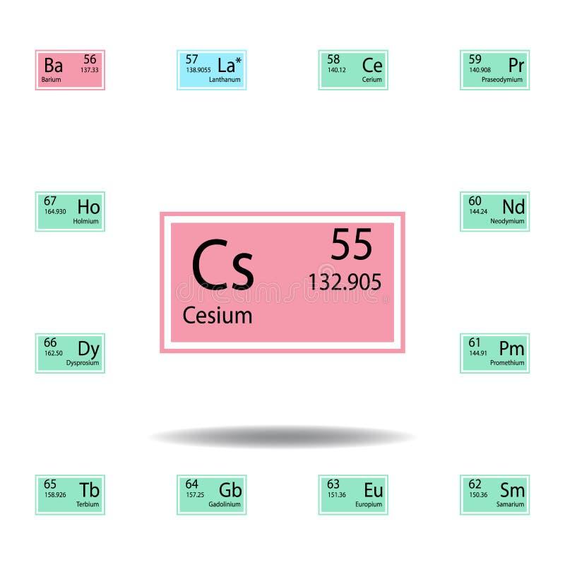 Symbol för färg för cesium för beståndsdel för periodisk tabell Ställ in av kemisk teckenfärgsymbol Tecken och symbolsamlingssymb vektor illustrationer