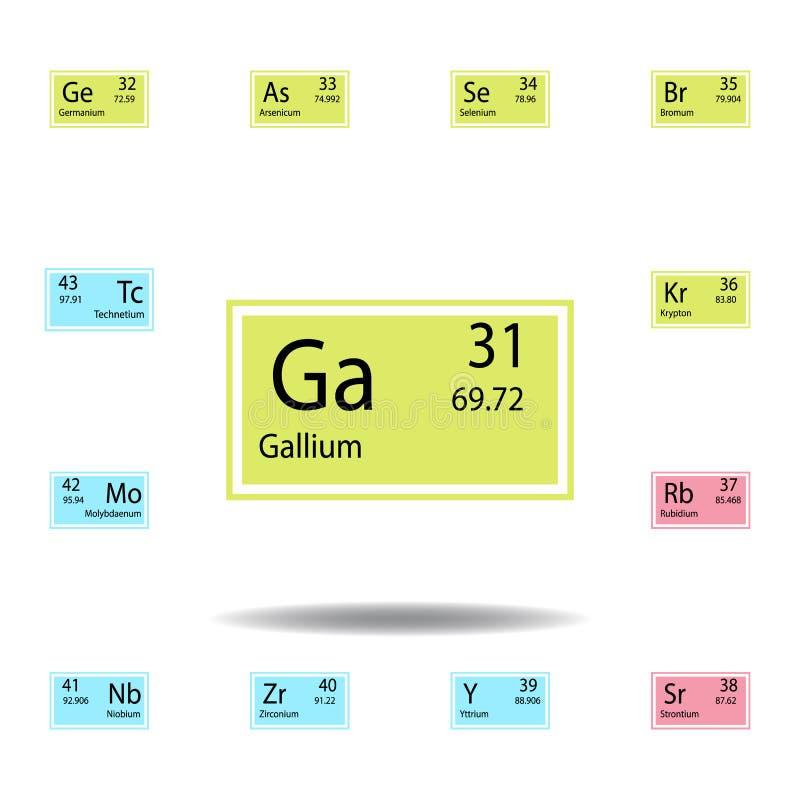 Symbol för färg för gallium för beståndsdel för periodisk tabell Ställ in av kemisk teckenfärgsymbol Tecken och symbolsamlingssym vektor illustrationer