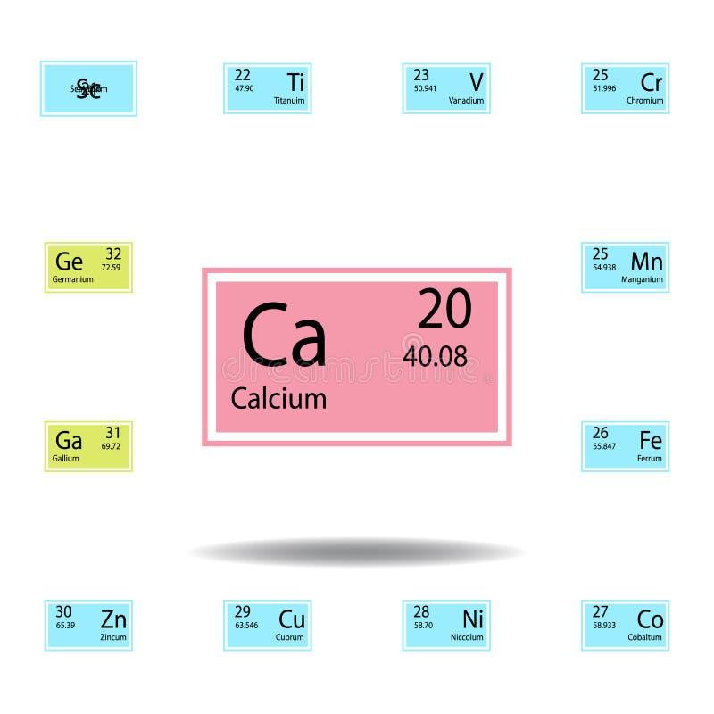 Symbol för färg för kalcier för beståndsdel för periodisk tabell Ställ in av kemisk teckenfärgsymbol Tecken och symbolsamlingssym stock illustrationer