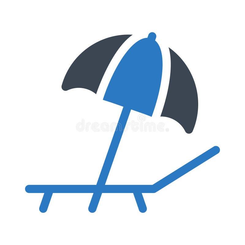 Symbol för färg för skåra för strandparaply plan royaltyfri illustrationer