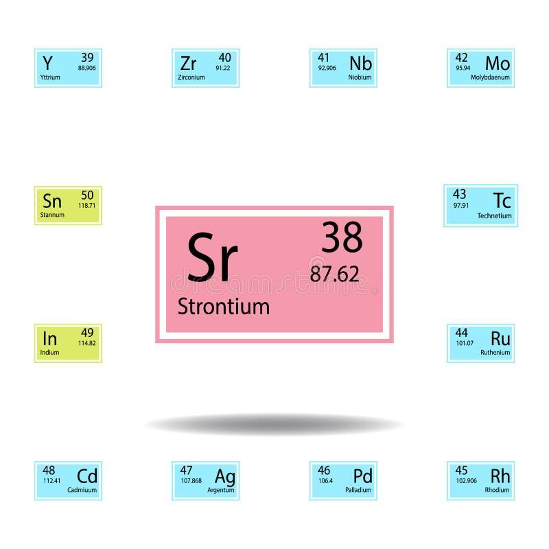 Symbol för färg för strontium för beståndsdel för periodisk tabell Ställ in av kemisk teckenfärgsymbol Tecken och symbolsamlingss vektor illustrationer
