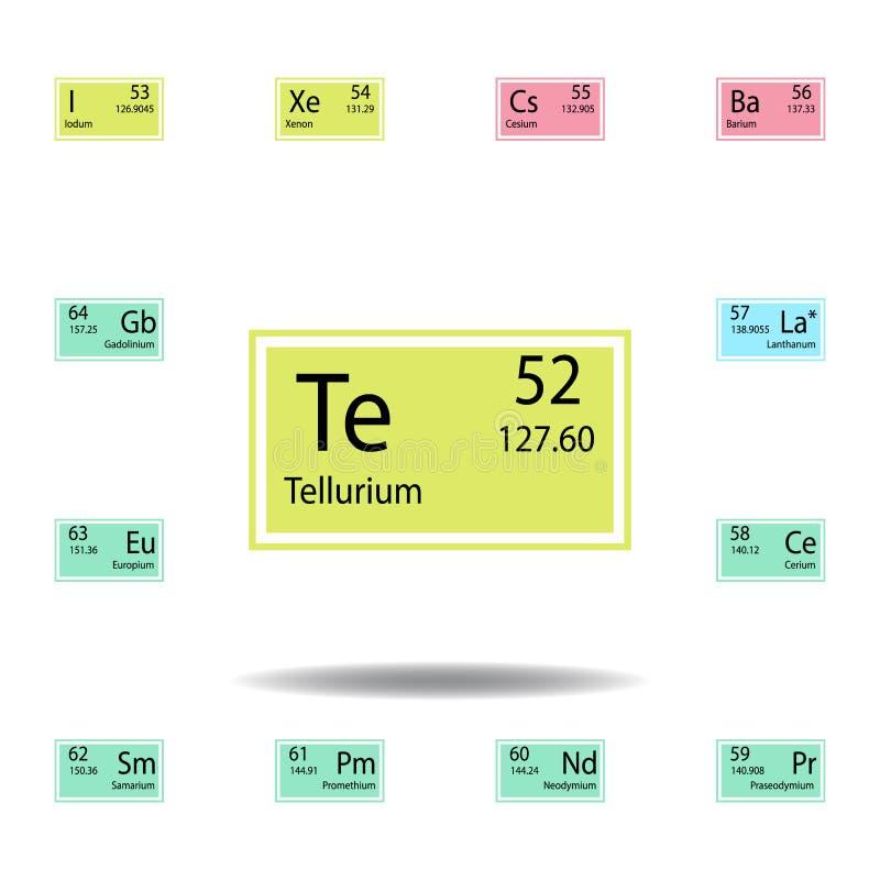 Symbol för färg för tellurium för beståndsdel för periodisk tabell Ställ in av kemisk teckenfärgsymbol Tecken och symbolsamlingss royaltyfri illustrationer