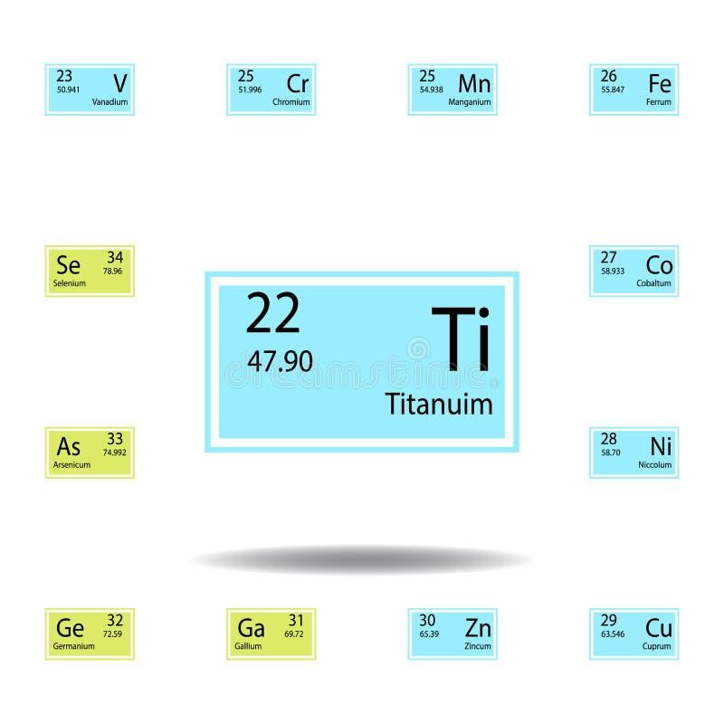 Symbol för färg för titanuim för beståndsdel för periodisk tabell Ställ in av kemisk teckenfärgsymbol Tecken och symbolsamlingssy stock illustrationer