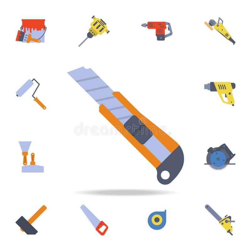symbol för färgkonstruktionskniv Detaljerad uppsättning av färgkonstruktionshjälpmedel Högvärdig grafisk design En av samlingssym royaltyfri illustrationer