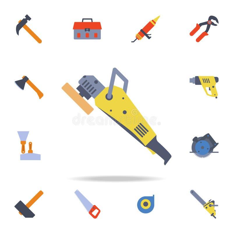 symbol för färgpoleringsmaskin Detaljerad uppsättning av färgkonstruktionshjälpmedel Högvärdig grafisk design En av samlingssymbo stock illustrationer