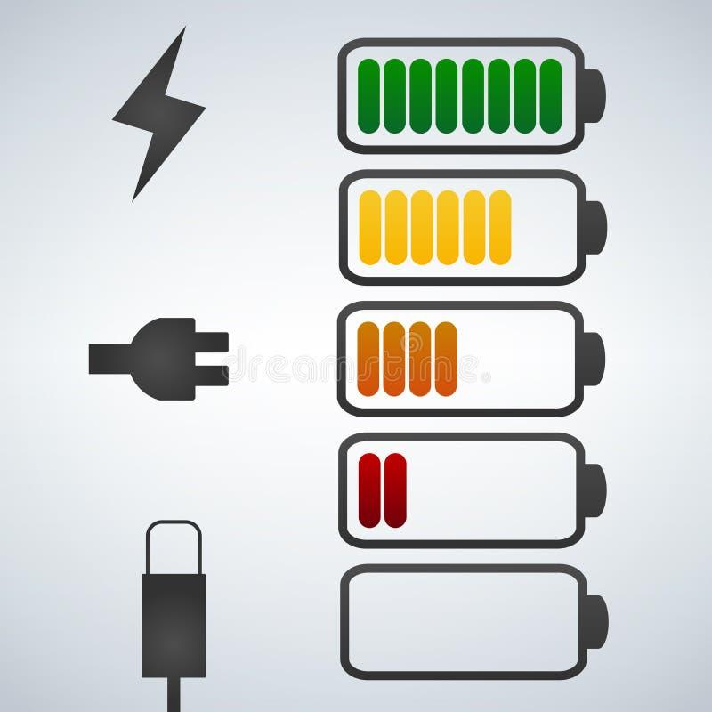 Symbol för färgvektorbatteri Laddning från höjdpunkt till bottenläget propp- och blixtsymbol stock illustrationer