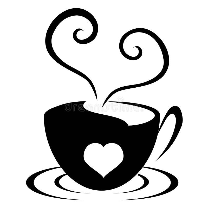 Symbol för förälskelsehjärtakopp stock illustrationer