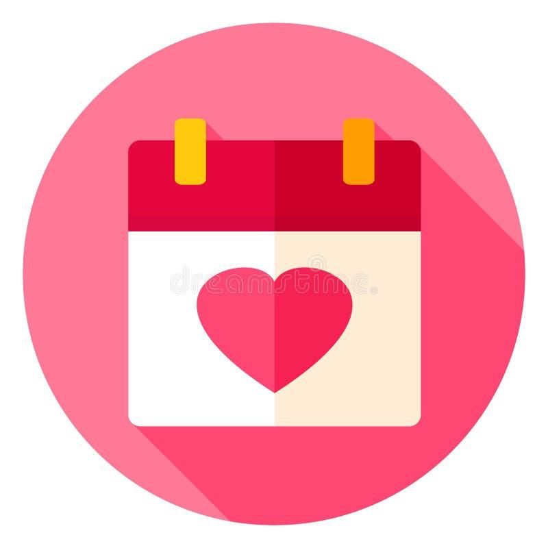 Symbol för förälskelsekalendercirkel royaltyfri illustrationer