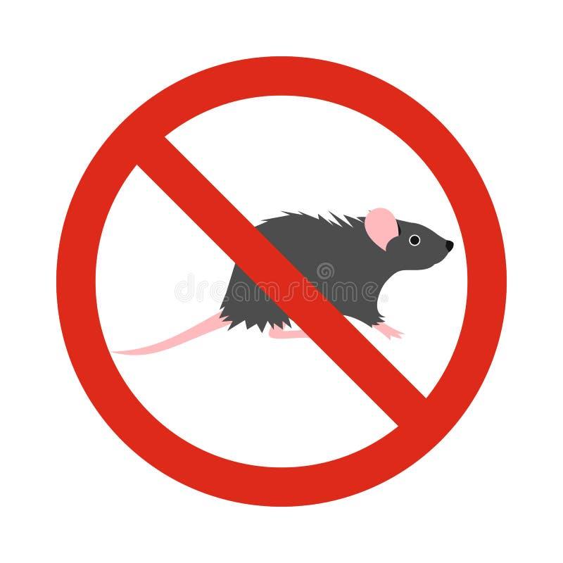 Symbol för förbudteckenmus, lägenhetstil stock illustrationer
