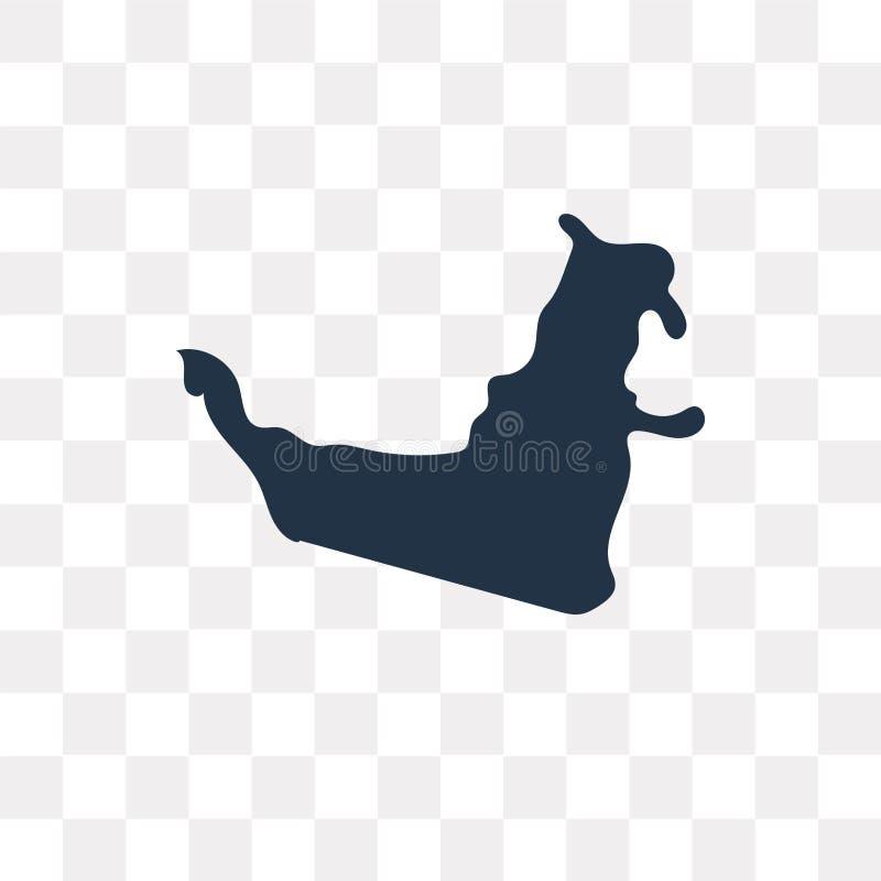 Symbol för Förenade Arabemiraten översiktsvektor som isoleras på genomskinlig bac vektor illustrationer