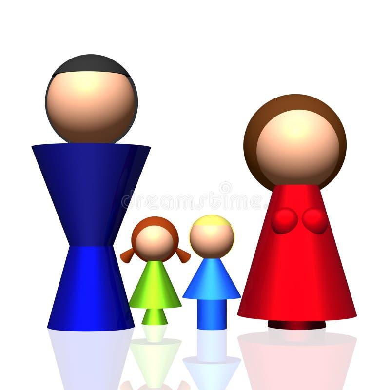 symbol för familj 3d royaltyfri illustrationer