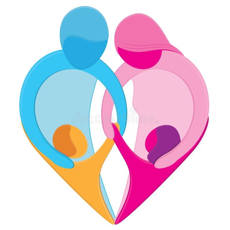 symbol för familjhjärtaförälskelse royaltyfri illustrationer