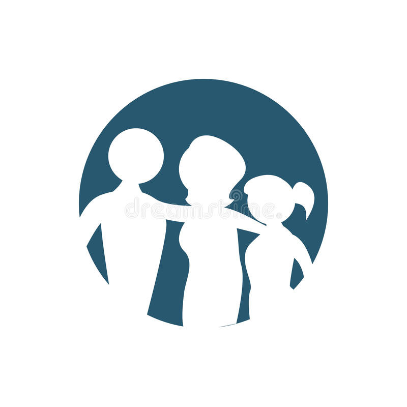 Symbol för familjkonturemblem stock illustrationer
