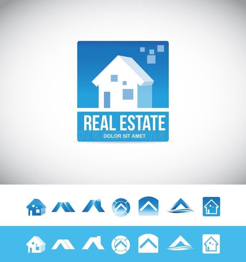 Symbol för fastighethuslogo 3d stock illustrationer