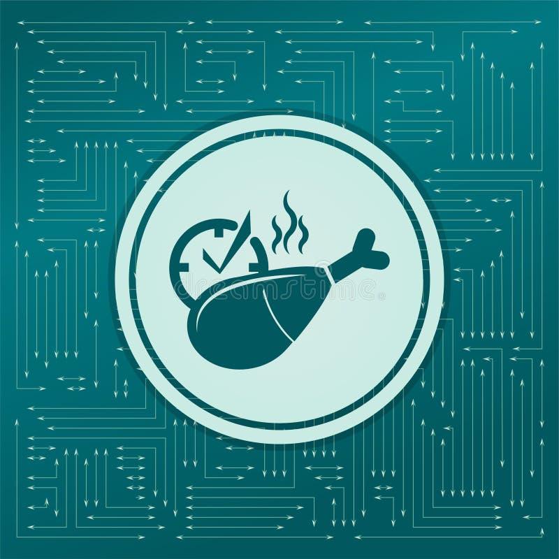 Symbol för fegt ben eller trumpinnepå en grön bakgrund, med pilar i olika riktningar Det visas det elektroniska brädet stock illustrationer